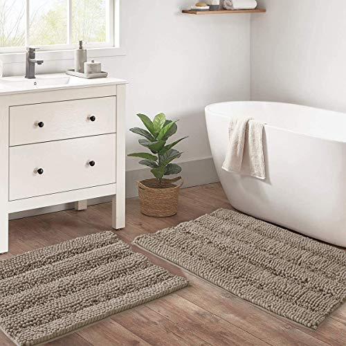 RYB HOME Bath Mats for Tub - Non Slip Bath Rugs Water Absorbent Thick Chenille Microfiber for Bathroom Floor Master Bedroom Kids Pets Kitchen Baby Nursery, Taupe, W20 x L32 + W17 x L24 inch, 2 Pieces