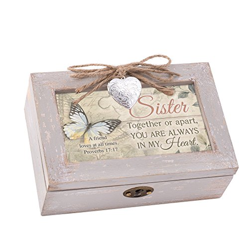 Cottage Garden Sister Always Heart Natural Taupe Wood Locket Petite Music Box Plays How Great Thou Art
