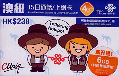 Australië/Nieuw-Zeeland 6 GB Prepaid 4G SIM-kaart met HK$30 oproepen/sms'jes in Australië/Nieuw-Zeeland/HK en 100 MB in HK-15 dagen gereguleerd gratis