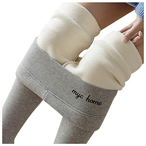 Boshivw Pantalones de chándal para mujer, cálidos, delgados, de forro polar, para el tiempo libre, ajustados, de cintura alta, de felpa, para correr, yoga, pantalones largos, gris, XL