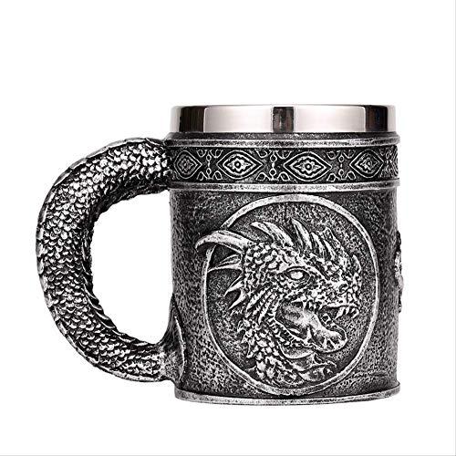SUPERHUA Taza de Cerveza de Acero Inoxidable de Resina de dragón Malvado Plateado 450ml Retro Jarra Taza de café Horrible Taza de té Vikingo Pub Bar decoración