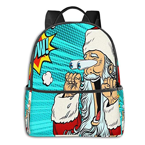 School Backpack for Men Women Teenager Daypack Fit 15.6 Inch Laptop Satchels Rucksack, Wow Santa Claus Christmas Character Casual Travel Backpack
