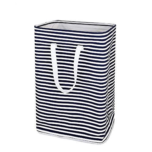 Maxte Laundry - Cesta de almacenamiento plegable (algodón y lino), diseño de rayas