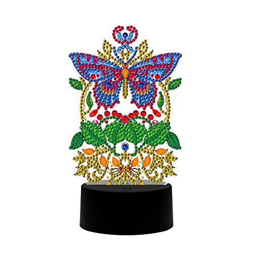 Owl DIY - Pintura de diamante con luz nocturna, diseño de religión con forma especial de diamante, bordado, punto de cruz, decoración principal