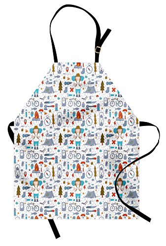 Lunarable Camping Apron, Spending Time in The Nature Wildlands Activities Trekker with Sleeping Bag,...