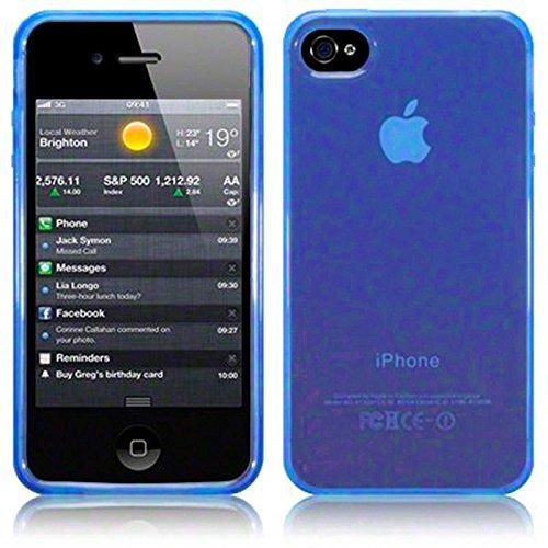 TBOC® Blau Gel TPU Hülle für Apple iPhone 4 Ultradünn Flexibel Silikonhülle