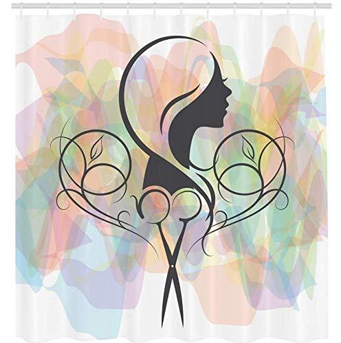 RTYRT 3D Bedruckter 180x200CM Friseursalon Duschvorhang Friseur Konzept eine Dame Silhouette mit Schere Icon auf Pastellfarbe Hintergrund Badezimmer