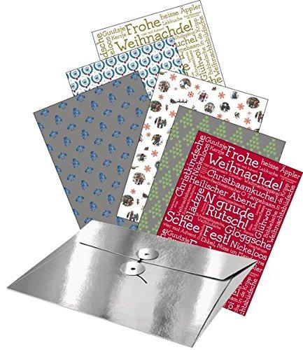 Weihnachtlich hessisch verpackt: 12 Geschenkpapier-Bogen mit hessischen Moziven in einer Hand-file-Mappe mit japanischem Ringverschluss