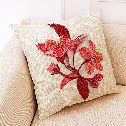 YQTYGB 4 er Set 45x45cm Doppeldruck Dekorative Kissenbezug,mit Verstecktem Reißverschluss Zierkissenbezüge,Leinen Kissenhülle Sofa Büro Dekor Zierkissenbezug.Rote Orchideenpapierschnittblume