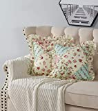 Brilliant Sunshine Pink and Green Rose Patchwork Quilted Decorative Square Throw Pillow Covers Set with Ruffles Cushion Case for Couch Sofa Bed, 18x18 / 45x45cm, Pack of 2, Pink Green