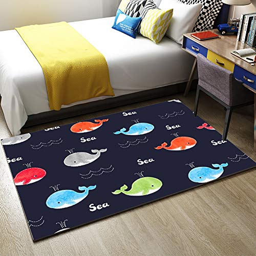 Best Prices! HMBBDT Cartoon Whale Pattern Kids Rugs Non Skid Washable Children Carpet for Playroom B...
