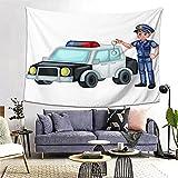 PATINISA Tapiz de Regalo,Un Oficial de policía con un Coche de policía y Esposas Dibujos Animados de policía de Dibujos Animados de Joven Guapo,Tapiz Bohemio diseño para Colgar en la Pared 60x51in