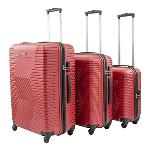 SQ Professional Vacanze Hardshell Suitcase Set 3pc (Red)