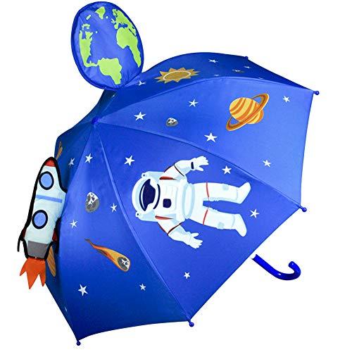 CAPMESSO Kinder Regenschirm Jungen 3D - Jungen Sonnenschirm Space Astronaut Regenschirm UV 50+ Schutz,Winddicht,Anzug für Schulkinder, Kindergartenkinder,Geschenk für 3-6 Jahre Mädchen, Jungen
