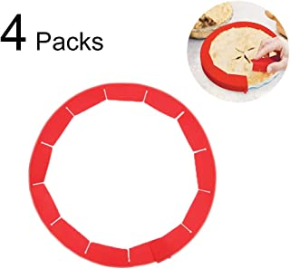 Pie Crust Shield, Adjustable Silicone Pie Crust Protectors Protector Cover Kitchen Tool for Baking Pie Pizza, Fit 8-11.4 Inch Pies (4 Pieces, Red)