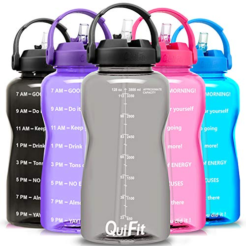 QuiFit Motivational Gallon Water Bottle  with Straw amp Time Marker BPA Free 128 oz Large Water Jug LeakProof Durable for Fitness Outdoor EnthusiastsGrey1 Gallon