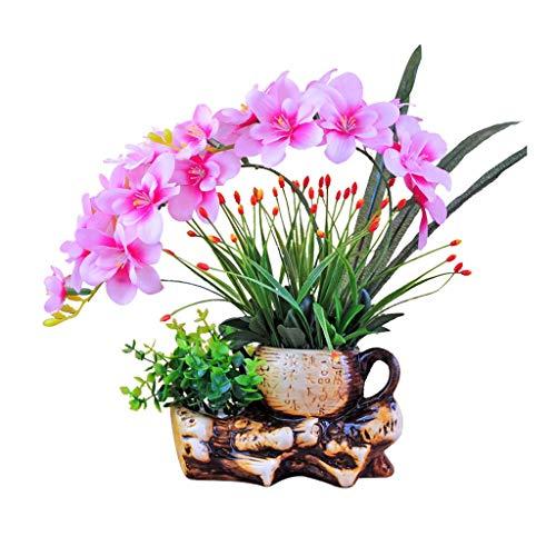 NYKK Getrocknete Blumen Künstliche Phalaenopsis-künstliche Blumen-Set, Keramik-Blumentopf, Heim Tabelle, gefälschter Blumenschmuck, künstliche gefälschte Blumen Bonsai künstliche Blumen