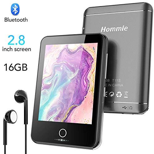 Hommie Lettore MP3 da 16 GB con Bluetooth 4.1, 2,8 Pollici Full Touch Screen Musicale Senza Perdita di Suono con Altoparlante e Pulsante Volume Indipendente, Espandibile Fino a 128 GB (T11S)