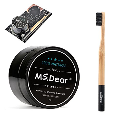MS.DEAR Teeth Whitening Charcoal Powder Toothpaster Coconut Activated Charcoal with Bamboo Toothbrush Natural & Organic Oral Care Set 1.05 oz