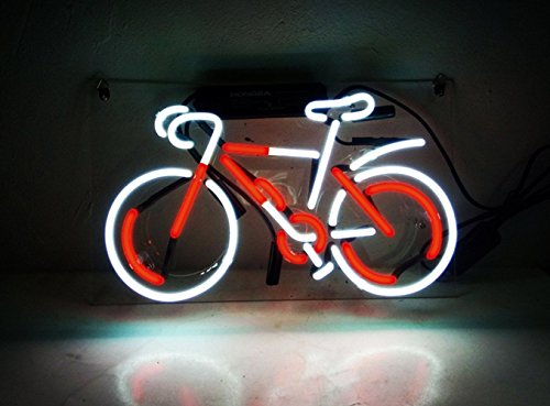 """LiLingU Neon Signs, Real Glass Neon Sign """"Red Bicycle"""" Appropriate for Gifts, Bar Signs with High Fine Process for Bar, Pub, Hotel, Restaurant, Wedding Party, and Home Wall Decor."""