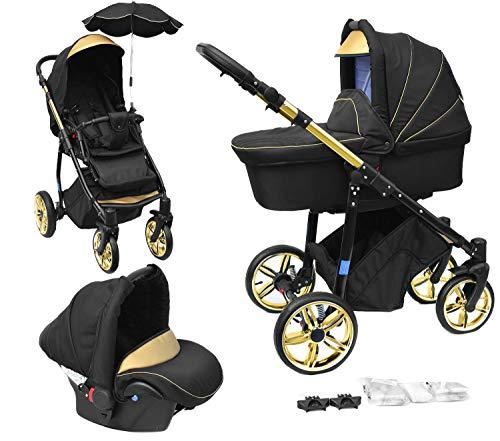 Skyline 3in1 Kombi Kinderwagen mit einem Aluminium Gestell, Babywanne, Sport Buggyaufsatz und Babyschale (ISOFIX) (Schwarz&Gold)