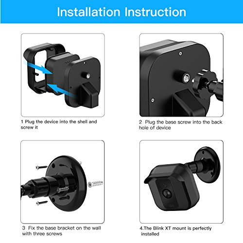 Blink XT XT2 Camera Wall Mount Bracket,Weather Proof 360 Degree Protective Adjustable Indoor/Outdoor Mount and Cover for Blink XT XT2 Home Security Camera Anti-Sun Glare UV Protection Black(1 Pack)