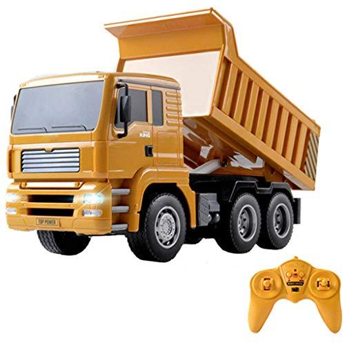 PBTRM 2.4Ghz RC Dumping Truck Coche Volquete Eléctrico RC 1:18, con 1 Kg Carga, Balde Volquete con Control Remoto Y Batería Grande para Niños, Niños 3,4,5,6,7