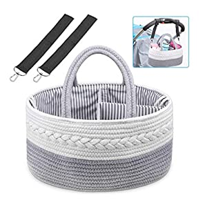 Baby Diaper Storage Caddy, Shynek Rope Diaper Caddy Organizer with Baby Stroller Hooks Clips, 100% Cotton Portable Diaper Storage for Diaper Baby Wipes and Shower Gift