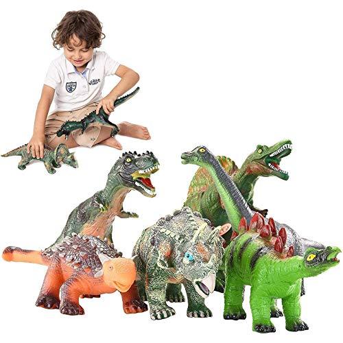 JOYIN 6 Stück 30.4 bis 35.5cm Pädagogische realistische Dinosaurierfiguren Spielzeug mit Dinosaurierheft