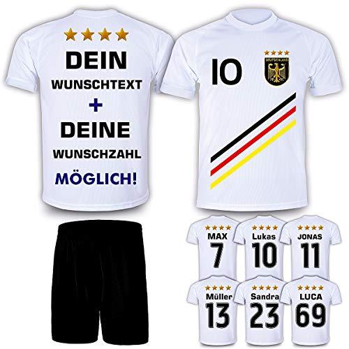 DE-Fanshop Deutschland Trikot + Hose mit GRATIS Wunschname + Nummer + Wappen Typ #D 2018 im EM/WM Weiss - Geschenke für Kinder,Jungen,Baby. Fußball T-Shirt personalisiert