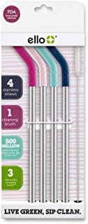 Ello Impact Reusable Straws with Cleaning Brush (Multi-Pack)