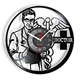 XYLLYT Reloj de Pared de Vinilo para médico y Estrella de la Vida, Reloj de Bolsillo para Equipo Profesional de Hospital médico, Regalo para Personal médico