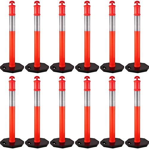 VEVOR 12Pack Traffic Delineator Posts 44 Inch Height, Channelizer Cones Post Kit 10 inch Reflective Band, Delineators Post with Rubber Base 16 inch for Construction Sites, Facility Management etc.