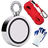 EVISWIY 1700LBS Fishing Magnets with Rope 65FT Carabiner Glove Large Strong Heavy Duty Rare Earth Neodymium N52 Double Sided Magnets for Magnet Fishing Treasure Hunting Underwater Retrieving