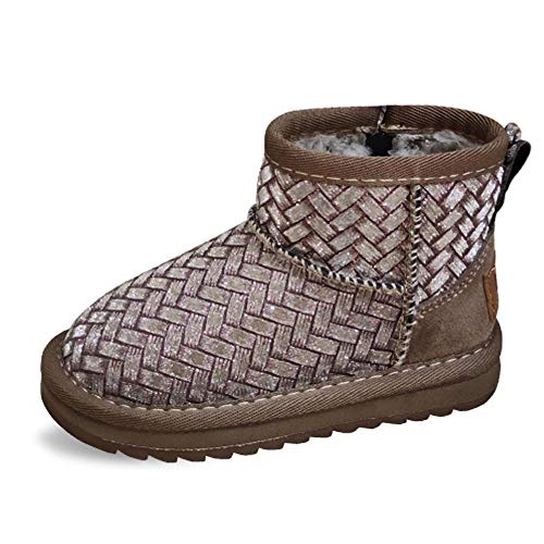 Botas de Nieve para niñas pequeñasBotas de Nieve de Terciopelo para niños Zapatos para niños Gruesos para niños Botas Cortas cálidas para niñas-Albaricoque_29Niños pequeños Botas de Nieve Niños Niños