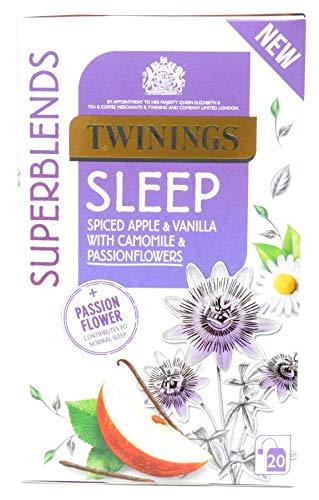 Twinings Dormir 20 Bolsitas de – Té PAQUETE DE 3 – Con Manzana Especiada, Vainilla, Manzanilla y Flores de la Pasión - Contribuye al Sueño Normal - Twinings Abastecidos con Cuidado Superblends