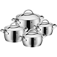 WMF Concento 8-Piece Cookware Set with 3.5 qt Low, 2.0 qt High, 4.0 qt High, 7.0 qt High Casserole with Lid (Silver) (Second Quality)