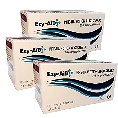 3X Premium Alcotip 70% Isopropyl Alcohol Pre-Injection Swabs (3X Box of 100) by Ezy-Aid®