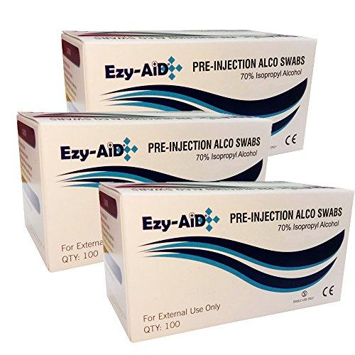 3X Premium Alcotip 70% Isopropyl Alcohol Pre-Injection Swabs (3X Box of 100)