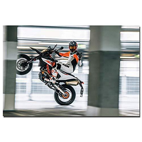 KTM 690 SMC R Supermoto Wandkunst Poster Leinwand Stoff Druck für Wohnkultur Drucke Druck auf Leinwand 60x90cm Kein Rahmen