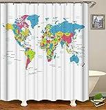 Fansu Duschvorhang Wasserdicht Anti-Schimmel Anti-Bakteriell, 3D Drucken 100prozent Polyester Bad Vorhang für Badzimmer mit C-Form Kunststoff Haken (Weltkarte,90x180cm)