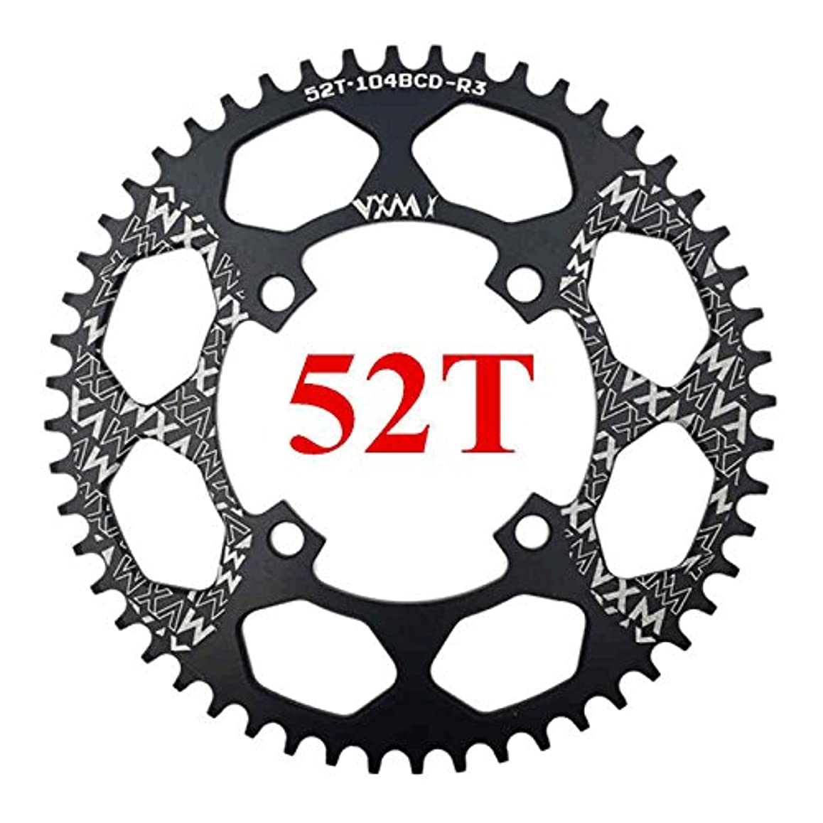 同じ限られた居間Propenary - 自転車104BCDクランクオーバルラウンド30T 32T 34T 36T 38T 40T 42T 44T 46T 48T 50T 52TチェーンホイールXT狭い広い自転車チェーンリング[ラウンド52Tブラック]