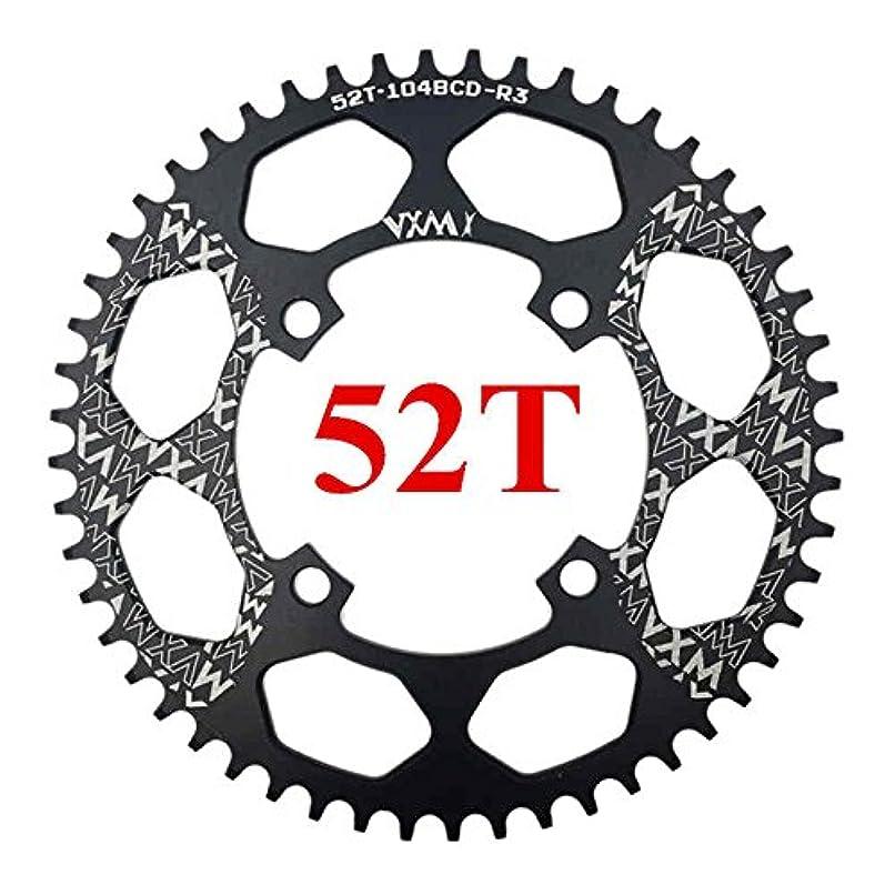 乱雑なミスペンド微生物Propenary - 自転車104BCDクランクオーバルラウンド30T 32T 34T 36T 38T 40T 42T 44T 46T 48T 50T 52TチェーンホイールXT狭い広い自転車チェーンリング[ラウンド52Tブラック]