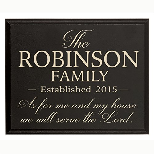 Personalized As for Me and My House We Will Serve the Lord Wall Décor Plaque Joshua 24:15 Family Established Year Sign Engraved with Family Name and Year Established By(Black, 9x12)