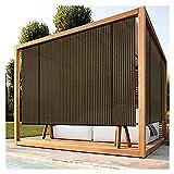 XJJUN Sonnenschutzrollos, Atmungsaktive Stoffisolierung, Kühlend Outdoor-Rollo UV-beständig, Für Garten Pergola-Pavillon (Color : Brown, Size : 1.5x2m)