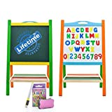 Double Sided Wooden Art Easel for Kids Standing Magnetic Whiteboard Chalkboard Small Toddler Toys. Includes Wooden ABC Numbers. Eco Friendly Lifetime Replacement Guarantee