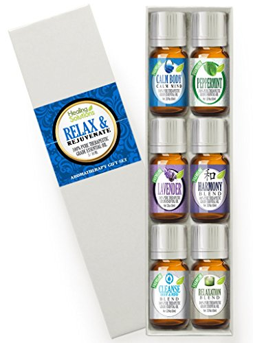Relax & Rejuvenate Set 100% Pure, Best Therapeutic Grade Essential Oil Kit - 6/10mL (Calm Body/Calm Mind, French Lavender, Harmony, Peppermint, Cleanse Body & Mind, and Relaxation)