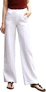 Les umes Womens 100% Linen Fit Full Length Straight Pants for Women High Elastic Waist US Size 4-18
