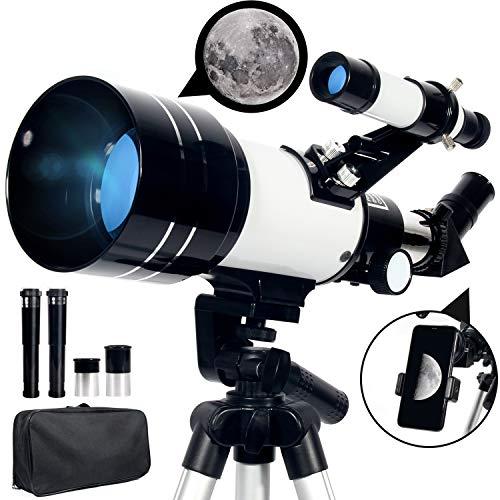 Upchase Astronomisches Teleskop, 70/300mm, Super Klares Tragbares Refraktor Teleskop Sets, Verstellbares Tripod-Rucksack-Phone Adapter, Beobachtung von Himmel und Landschaft(Kinder Geschenk)