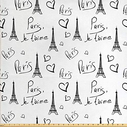 Ambesonne Paris Fabric by The Yard, World Capital City of Love French European Hand Drawn Sketch Eiffel Illustration, Decorative Fabric for Upholstery and Home Accents, 1 Yard, Black and White